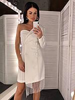 Платье пиджак с одним рукавом и бахрамой 6003743, фото 1