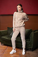 Вязаный женский брючный костюм с зауженными штанами и кофтой и горловиной 6110402, фото 1