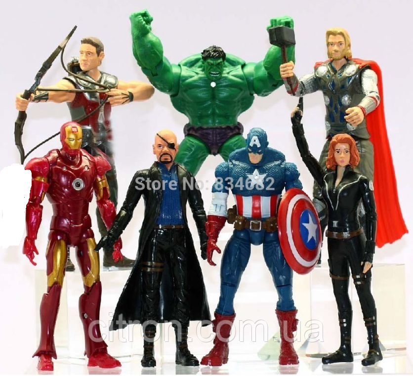 Набор Марвел 7 шт. 15.5 см. Мстители + Танос 17 см. в ПОДАРОК!