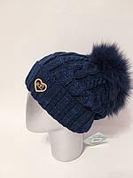 Женская теплая вязаная шапка с подворотом и бубоном 1207233, фото 1