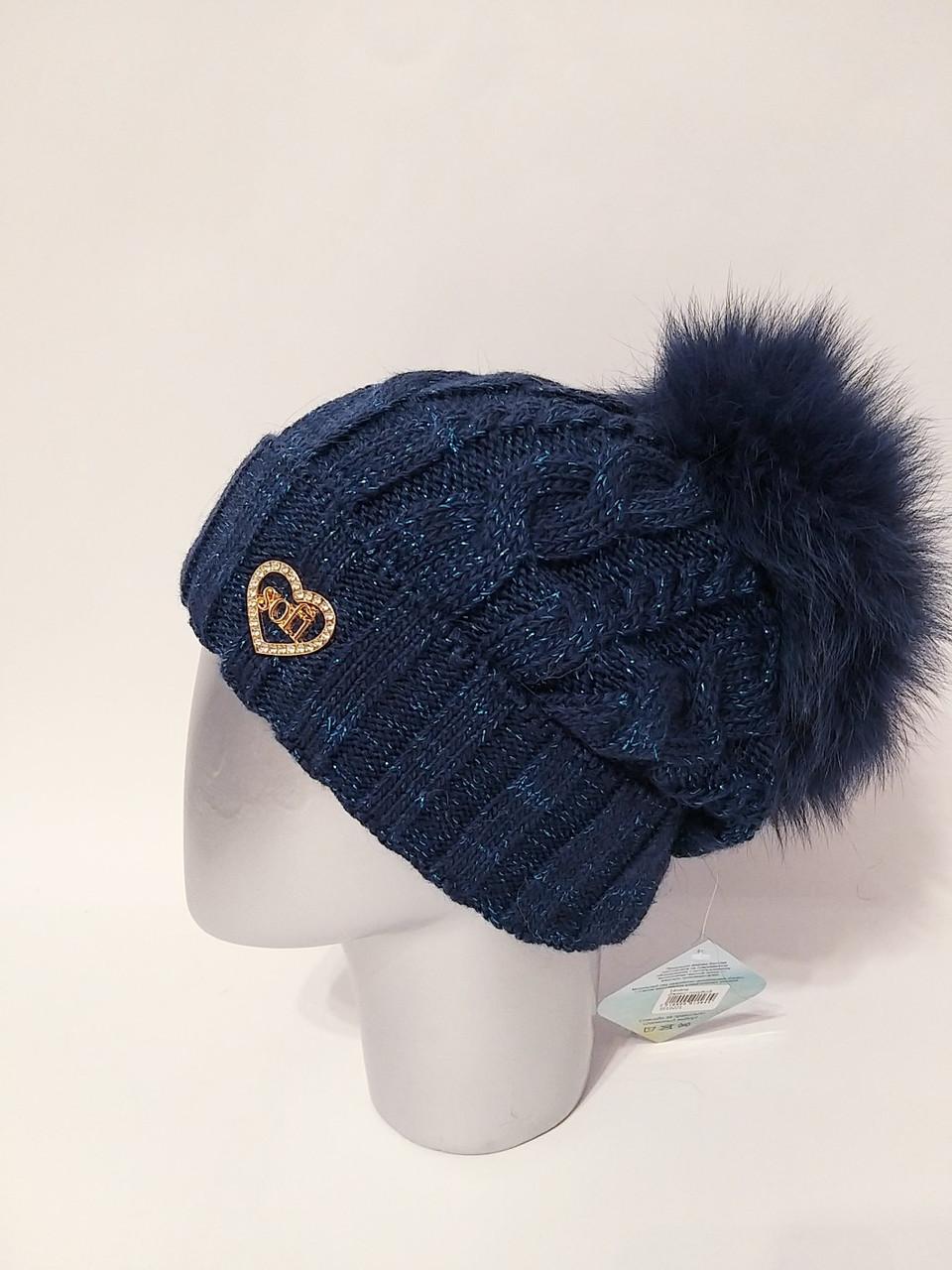 Женская теплая вязаная шапка с подворотом и бубоном 1207233