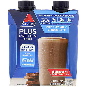Atkins, Plus Protein & Fiber, Creamy Milk Chocolate, 4 Shakes, 11 fl oz (325 ml) Each