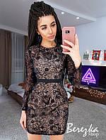 Вечернее приталенное платье мини с пайетками и сеткой tez6603664Е, фото 1