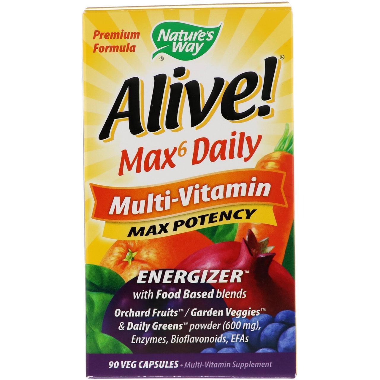 Nature's Way, Живой! Мультивитамины Max6 для ежедневного приема, 90 растительных капсул