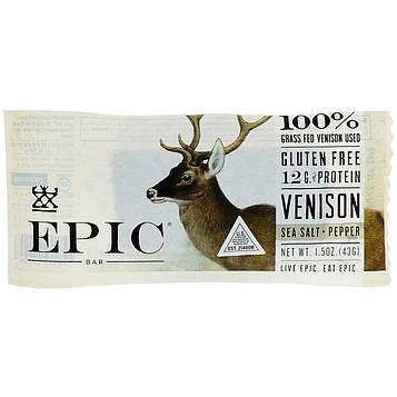 Epic Bar, Venison Sea Salt Pepper Bar, 12 Bars, 1.5 oz (43 g) Each