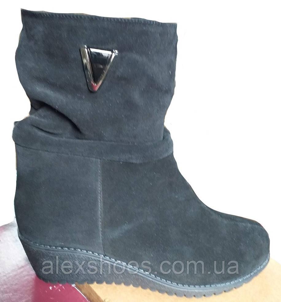 Ботинки женские зимние из натуральной замши большого размера от производителя модель АР017
