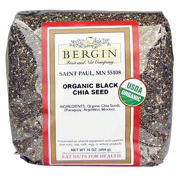 Bergin Fruit and Nut Company, Органические черные семена чиа, 16 унций (454 г)