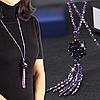 Длинное сиреневое ожерелье хрустальные бусины код 1775