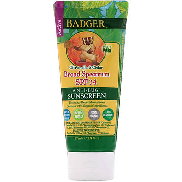 Badger Company, Anti-Bug Sunscreen, SPF 34 PA+++, Citronella & Cedar, 2.9 fl oz (87 ml)