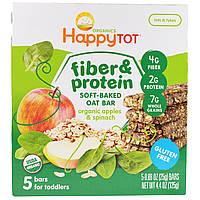 Happy Family Organics, Happytot, овсяной батончик с волокнами и протеином, органические яблоки и шпинат, 5 батончиков, 0,88 унции 25 г каждый,