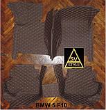 Килимки на BMW 5-series F10 з Екошкіри 3D (2009-2017) з текстильними накидками, фото 2