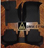 Килимки на BMW 5-series F10 з Екошкіри 3D (2009-2017) з текстильними накидками, фото 3
