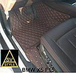Килимки на BMW 5-series F10 з Екошкіри 3D (2009-2017) з текстильними накидками, фото 5