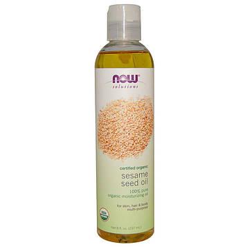 Now Foods, Now Solutions, кунжутное масло, сертифицированный органический продукт, 237 мл