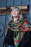 Подкова 377-19, павлопосадский платок (шаль) из уплотненной шерсти с шелковой вязанной бахромой, фото 3