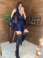 """Комбинезон-шорты женский бархатный с пайетками арт 347 (42-46) """"MILIRUD"""" недорого от прямого поставщика"""