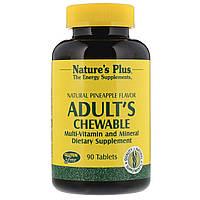 Nature's Plus, Жевательные мульти-витамины и минералы для взрослых с натуральным ананасовым вкусром, 90 таблеток