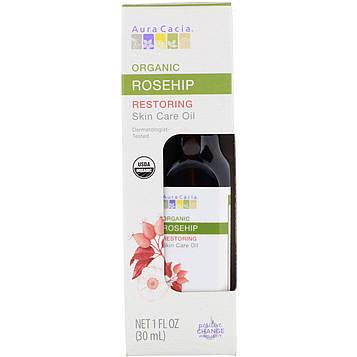 Aura Cacia, Органическое уходовое масло для кожи, Restoring, шиповник, 1 ж. унц. (30 мл)