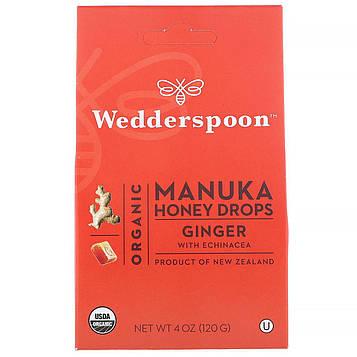 Wedderspoon, Органические леденцы с медом чайного дерева, имбирь с эхинацеей, 4 унции (120 г)