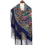 Миндаль 1369-14, павлопосадский платок (шаль) из уплотненной шерсти с шелковой вязанной бахромой, фото 2