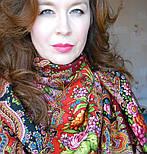 Миндаль 1369-6, павлопосадский платок (шаль) из уплотненной шерсти с шелковой вязанной бахромой, фото 3