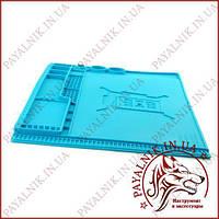 Килимок для пайки 400х300 мм SS-004E термостійкий мат, силіконовий килимок з магнітними осередками
