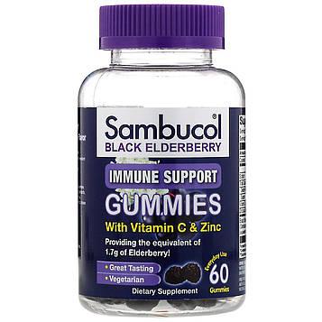 Sambucol, Black Elderberry, Immune Support Gummies with Vitamin C & Zinc, Natural Berry, 60 Gummies