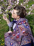 Миндаль 1369-13, павлопосадский платок (шаль) из уплотненной шерсти с шелковой вязанной бахромой, фото 4