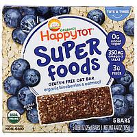 Happy Family Organics, Organics Happy Tot, суперпища, безглютеновый овсяный батончик, органическая голубика и овсянка, 5батончиков, 25г каждый,