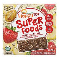 Happy Family Organics, Organics Happy Tot, суперпища, безглютеновый овсяный батончик, органические бананы, клубника и подсолнечная паста,, официальный