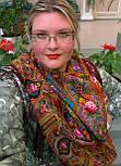 Миндаль 1369-6, павлопосадский платок (шаль) из уплотненной шерсти с шелковой вязанной бахромой, фото 6