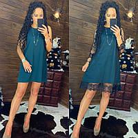 Платье - трапеция с сеткой сверху и кружевом 44plt720