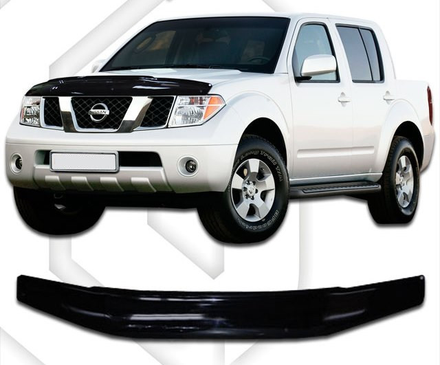 Дефлектор капота  Nissan Navara с 2010,  Мухобойка   Nissan Navara