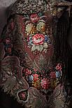 Миндаль 1369-27, павлопосадский платок (шаль) из уплотненной шерсти с шелковой вязанной бахромой, фото 3
