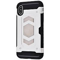 Чехол Iron man case with holder (TPU) для iPhone Xs Max silver