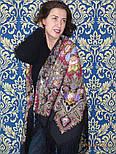 Миндаль 1369-20, павлопосадский платок (шаль) из уплотненной шерсти с шелковой вязанной бахромой, фото 3