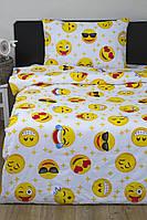 Детское постельное белье для подростков Lotus Young Emoji жёлтый ранфорс полуторный размер