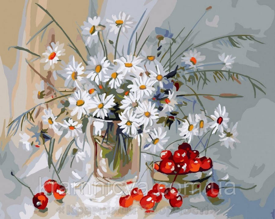 Картина по номерам Brushme 40х50 Ромашки и вишня (GX7840)