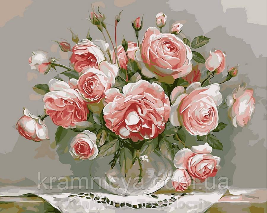 Картина по номерам Brushme 40х50 Розы на столике (G436)