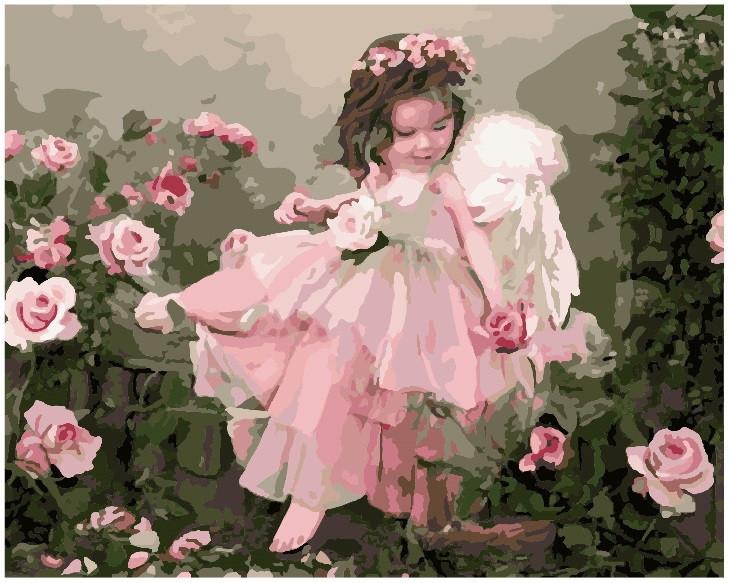 "Картина по номерам. Brushme ""Ангелочек в цветах"" GX7400"