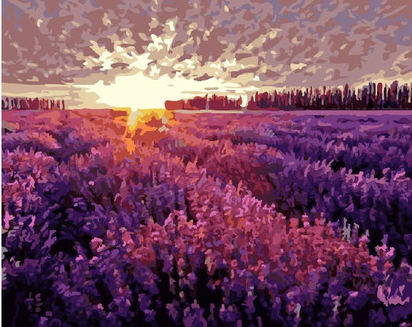 "Картина по номерам. Brushme ""Лавандовое поле на закате"" GX6812, фото 2"