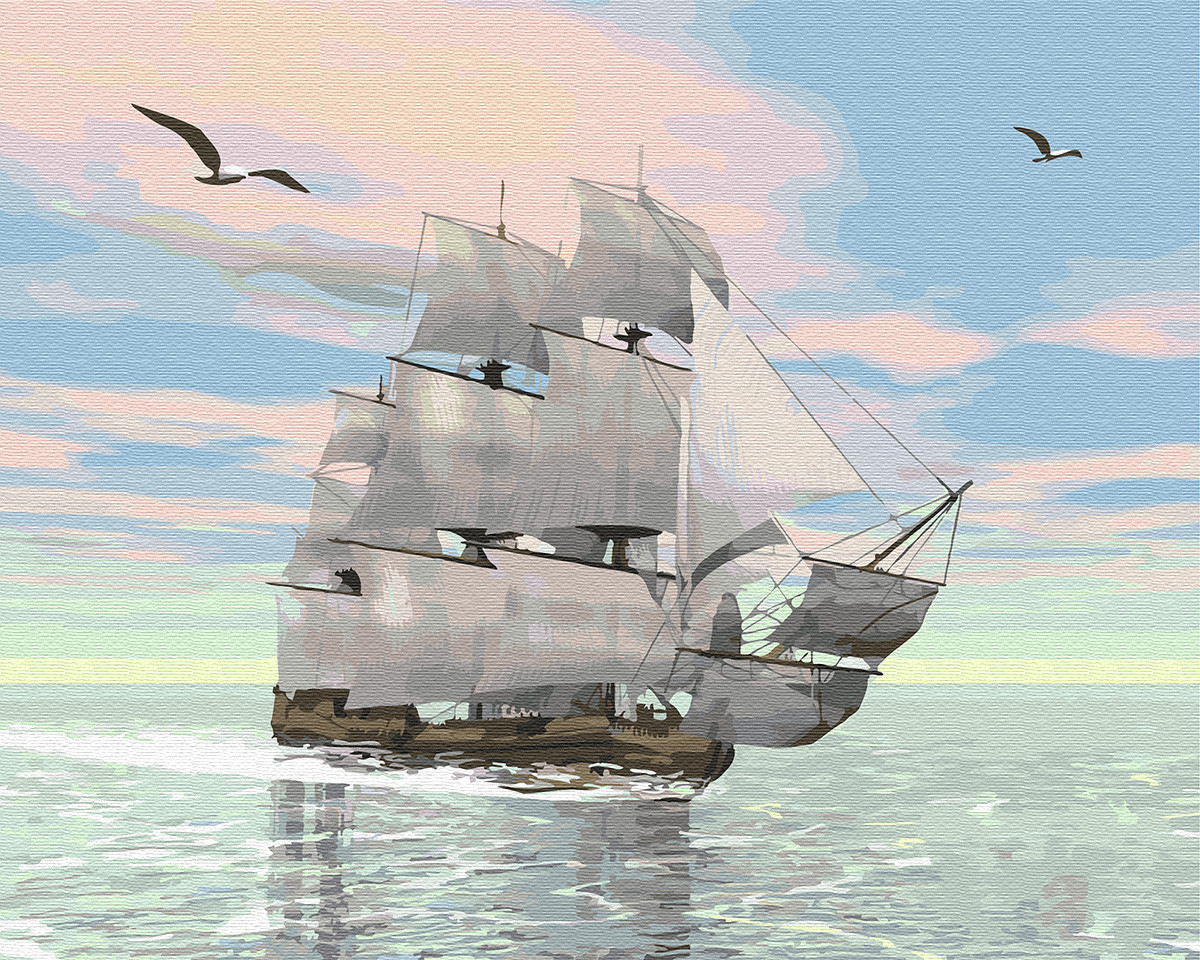 "Картина по номерам. Brushme ""Корабль на рассвете"" GX29368"