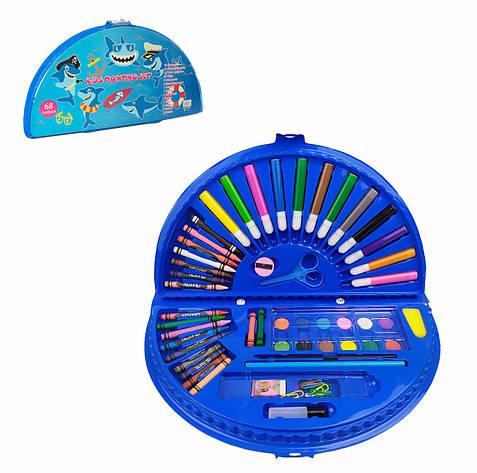 Набор для творчества MK 3918-2-4 (Акулы) акв.краски, фломастеры, карандаши, в пенале, 36-20-4см, фото 2