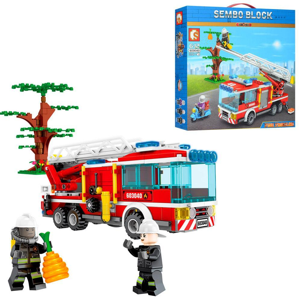 Конструктор SD603040 (18шт) пожарная техника, мотоцикл, фигурки, 330дет, в кор-ке,33-30,5-7см