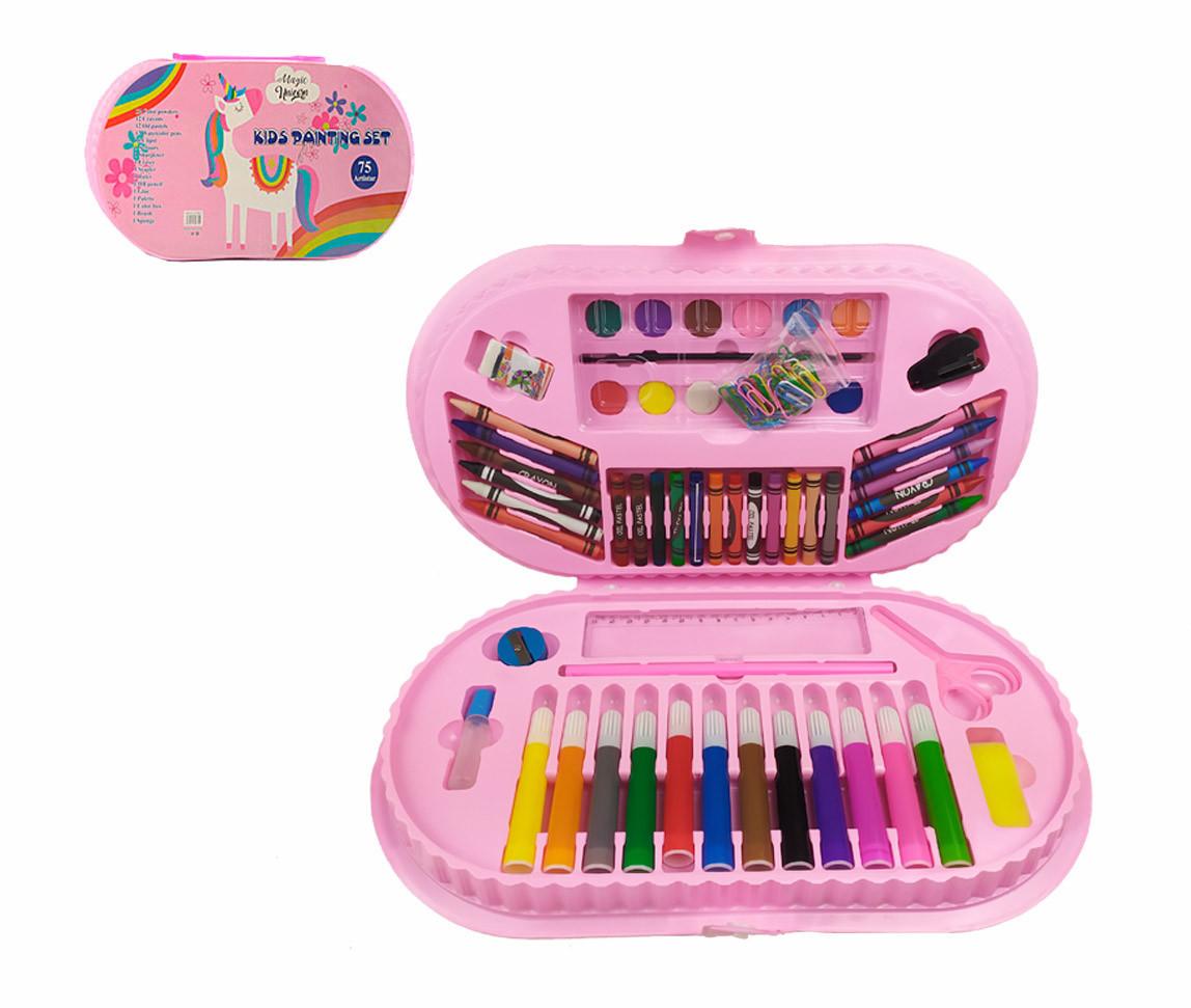 Набор для творчества MK 3918-1-1 (Единорог) акв.краски, фломастеры, карандаши, в пенале, 38-20-4см
