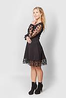 Женское платье нарядное - черное из дайвинга расклешенное с сеткой и 3D цветками на рукавах и юбке