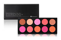 Профессиональная палитра румян 10 цветов Professional Blush BH Cosmetics Оригинал