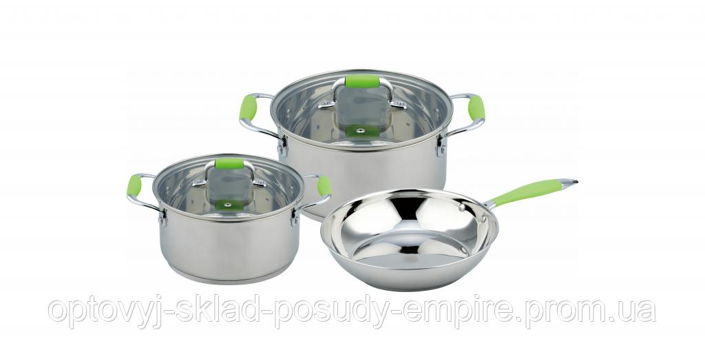 Набір посуду індукція каструлі з кришкою 2шт, об'ємом 3 л і 6.2 л, сковорода 24см Con Brio CB-1149