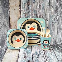 Набор детской посуды из бамбука - Пингвин