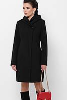 Чёрное женское кашемировое пальто с капюшоном